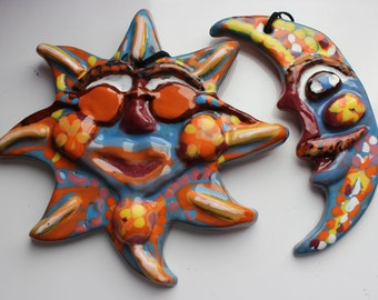 Terracotta Sun and Moon/Celestial Art
