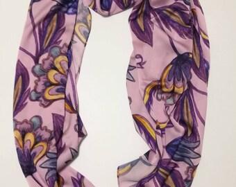 "55""*67"" Floral Bloom Flower Purple Artifical Silk Scarf Rectangle Lady Stole Women Shawl"
