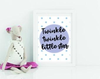Nursery printable, digital download, art for new baby, boys wall art, Twinkle Twinkle Little Star, boys print, nursery print.