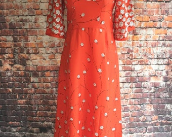 Bright red vintage maxi dress. 1970s. Approx modern day size 10 UK.