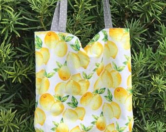 Lemon Love Handmade Reversible Tote Bag or Market Bag