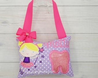 Tooth Fairy Pillow Girls * Monogrammed Tooth Fairy Pillow * Tooth Fairy Gift Ideas * Girls Tooth Fairy Pillow