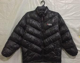 Vintage Puffer Jacket AIRWALK STREET USA Embroidery Spell out Black Puffer Jacket Airwalk Unisex Size Medium