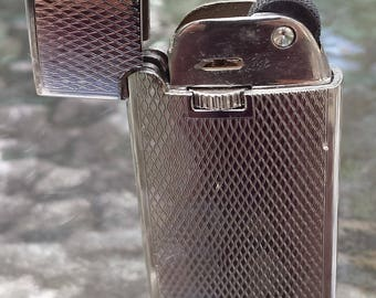 Vintage Colibri Style Multidimensional Design Etched Silver Refillable Butane Flip Top Lighter 80's~Cigarette, Tobacco, Flame
