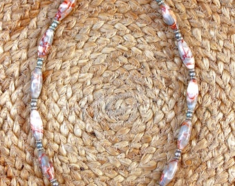 Russian Red Picasso Jasper and Chinese Freshwater Pearl Necklace