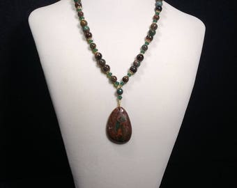 Natural Green Opal, Pendant, 21in Necklace, Swarovski Crystal