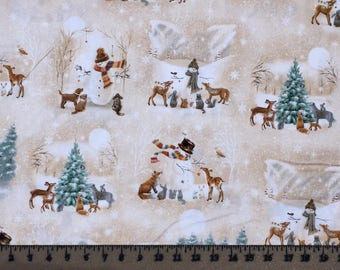 Quilting Treasures Woodland Friends Vignettes Snowman Dogs Deer 25839 Cotton Fabric By the Yard