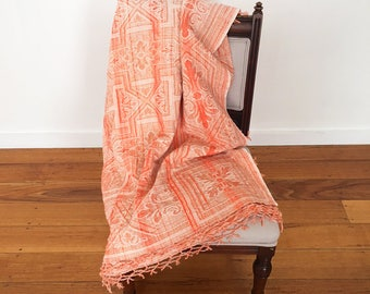 Vintage Woven Cotton Throw - bohemian boho eclectic jungalow home decor style - peach coral tassel throw rug single bed #0762