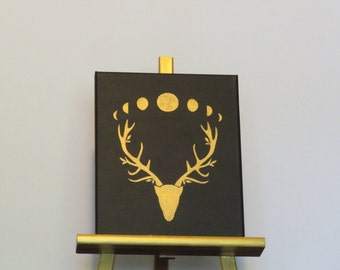 Wiccan~ Horned God Stag Head with Moon Phases (8x10 painting)