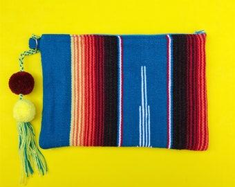 Serape clutch, Serape bag, Mexican clutch, Mexican bag, Serape purse, Mexican Zip pouch, Mexican purse, Boho clutch, Boho bag, Boho purse