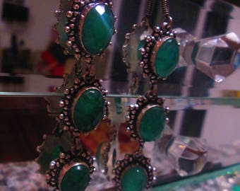 Emerald Earrings, 6 total stones, Silver, Teardrop earrings