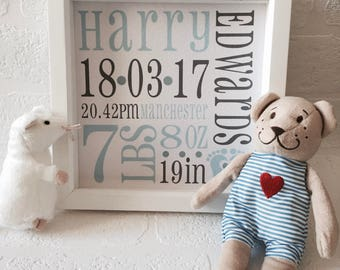 Personalised Baby Boy Birth Stats Box Frame | Newborn Keepsake | New Baby | White Frame | Pink | New Parent Gift | Christmas Gift Idea