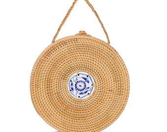 Mini straw circle bag, straw bag, circular bag, round bag, straw beach bag raffia, straw handbag, rattan bag, wicker handbag, summer bag