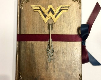 Handmade Journal / vintage Diana Prince / ww / warrior superhero DC Marvel Wonder Woman Themyscira steampunk Warrior Princess gifts for her