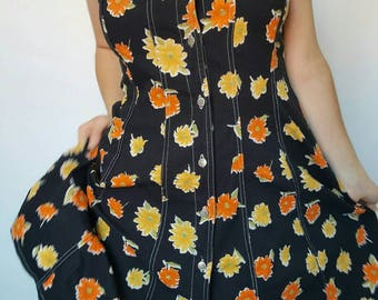 Dress / skater / Burton / denim / flowers / orange / black / vintage