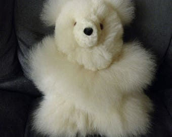 8 IN Real Super Baby Alpaca Fur Teddy  Bear - Peruvian Products - Stuffed Alpaca Toys - Handmade Tiny Bear