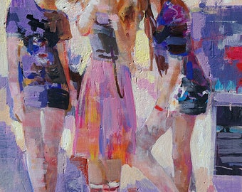 Original Oil Painting.Figurative Art.THREE GIRLS.Teens.Friends.Team.Children.Youth Room Decor.Modern Impressionism.Abstract.Teens fashion.