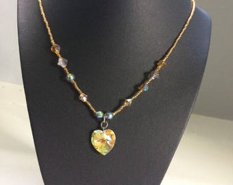Yellow/Amber Glass Beaded Necklace with Glass Heart Pendant