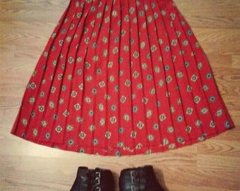 Tea length accordion pleat spanish tile print skirt - ladies vintage plus size red maxi skirt with elastic waist and accordion pleats