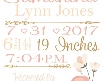 Personalized Birth Announcement - Digital Print 8x10 - You choose Colors