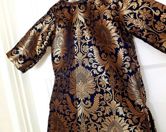 Baby girls dress Navy and gold floral print banarsi brocade baby kameez tunic
