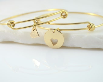 Mother Daughter Bracelet Set, Mom Gift From Daughter, Mother Daughter Bracelet Heart, Mother Daughter Bracelet Gold, Mom Birthday Gift