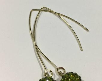 Avocado Crystal Rhinestone Disco Pave Earrings