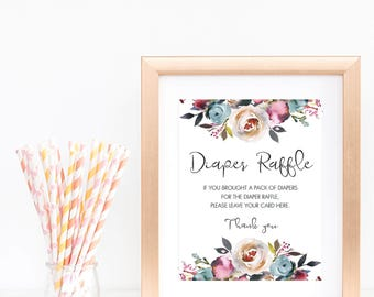 Floral Baby Shower Sign Printable Diaper Raffle Sign Boho Baby Shower Decorations Baby Party Games Instant Download Editable Baby Shower LF1