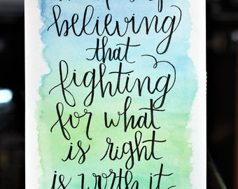 CUSTOM Gradient Watercolor Painting with Lettered Quote
