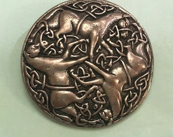 Vintage Celtic Three Horse Circle Round Silver Tone Brooch