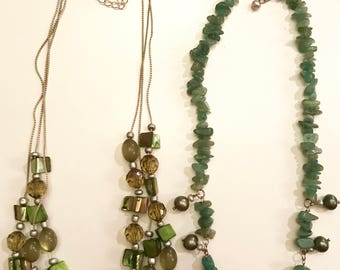 Vintage Pair of Green Beaded Necklaces