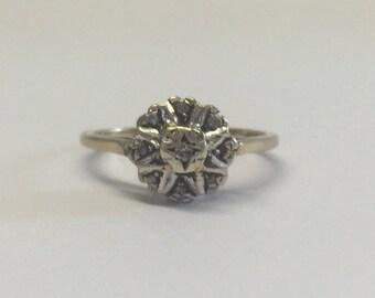 9ct Yellow Gold Illusion Set Diamond Ring
