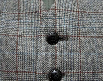 Vintage Wool TWEED Vest sz 40 waistcoat WEDDING