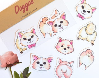 Dog Butts Sticker set