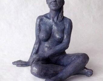 Sculpture woman graceful terracotta patina blue