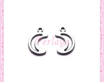 Set of 15 REF1234X3 silver Moon charms