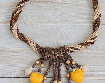 Wood Beads Necklace with Kukui Nuts