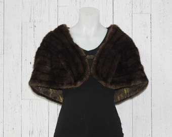 50s Real Mink Fur Stole with Pockets