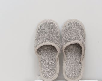 Natural linen home slippers for men or women white/black, linen sauna slippers, natural sustainable loungewear, breathable, natural linen