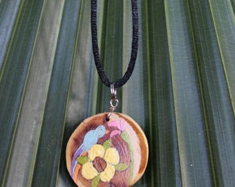 Wooden Painted Bird Necklace