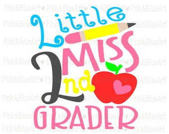 Little Miss 2nd grader SVG Clipart Cut Files Silhouette Cameo Svg for Cricut and Vinyl File cutting Digital cuts file DXF Png Pdf Eps