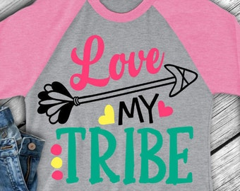 Arrow svg - Valentine svg - Valentine's day svg - Love my tribe svg - Tribe svg -  Family svg - Heart svg - SVG - DXF - EPS - png - pdf