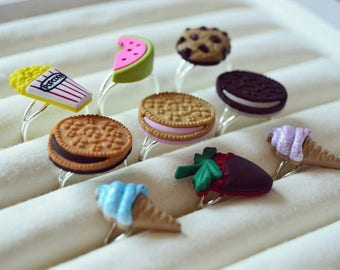 Kawaii Adjustable Rings * Sweets Cookie Oreo Icecream