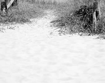To The Sea. Black and White Nature Photography Fine Art Print. Beach, Shore, Sandy Path, Coastal Wall Decor.