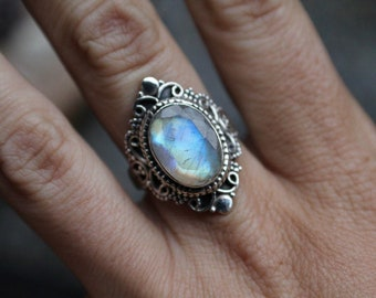 Moonstone Ring, 925 Sterling Silver, Size 6.5, Rainbow Moonstone, Blue Flash, June Birthstone, Gift for Her