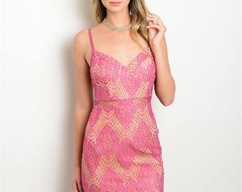 Pink Lace Date Night Dress