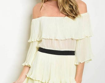 Ruffled Cream Dress