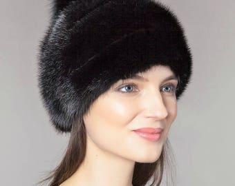 Handmade Black Mink Fur Hat With Leather Inserts And Fox Fur Pom Pom /  Genuine Luxury Women Winter Headwear Fur accessory Gift idea