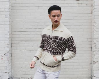 Vintage Cream and Brown Sweater / Mens Medium Kambern Original Sweater / Geometric Pattern Wool Knit / Polyester and Mohair Blend