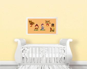 name art nursery boy, name art for kids, Cute animal poster, baby animals poster, alphabet art nursery, alphabet animal poster